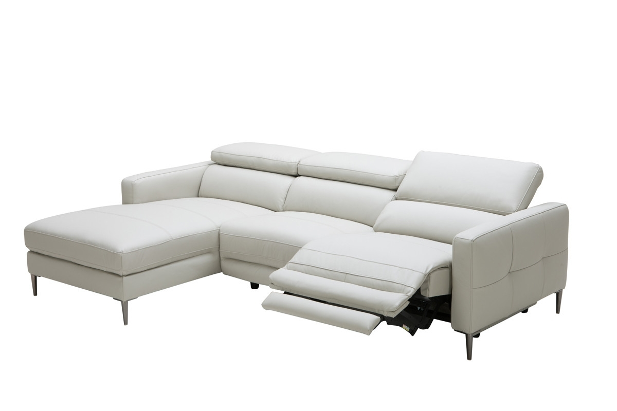Casa Booth Modern Light Grey Leather Sectional Sofa W/ Electric Inside Trendy Sectional Sofas With Electric Recliners (View 2 of 20)
