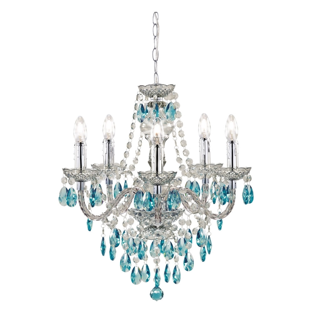 Ceiling Lights, Teal And Ceilings Throughout Turquoise Crystal Chandelier Lights (View 5 of 20)