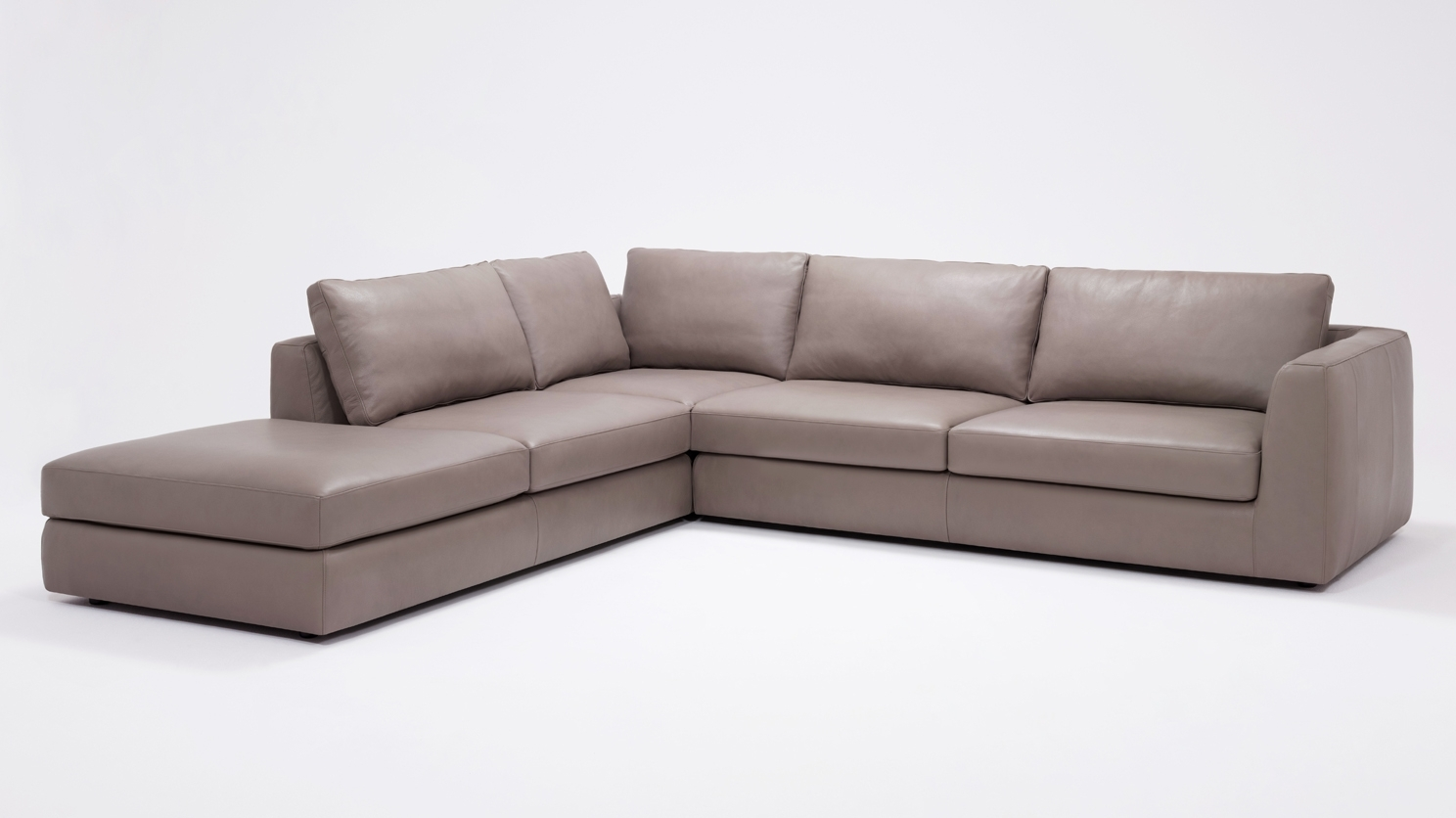 Cello 3 Piece Sectional Sofa With Backless Chaise – Leather (View 1 of 20)