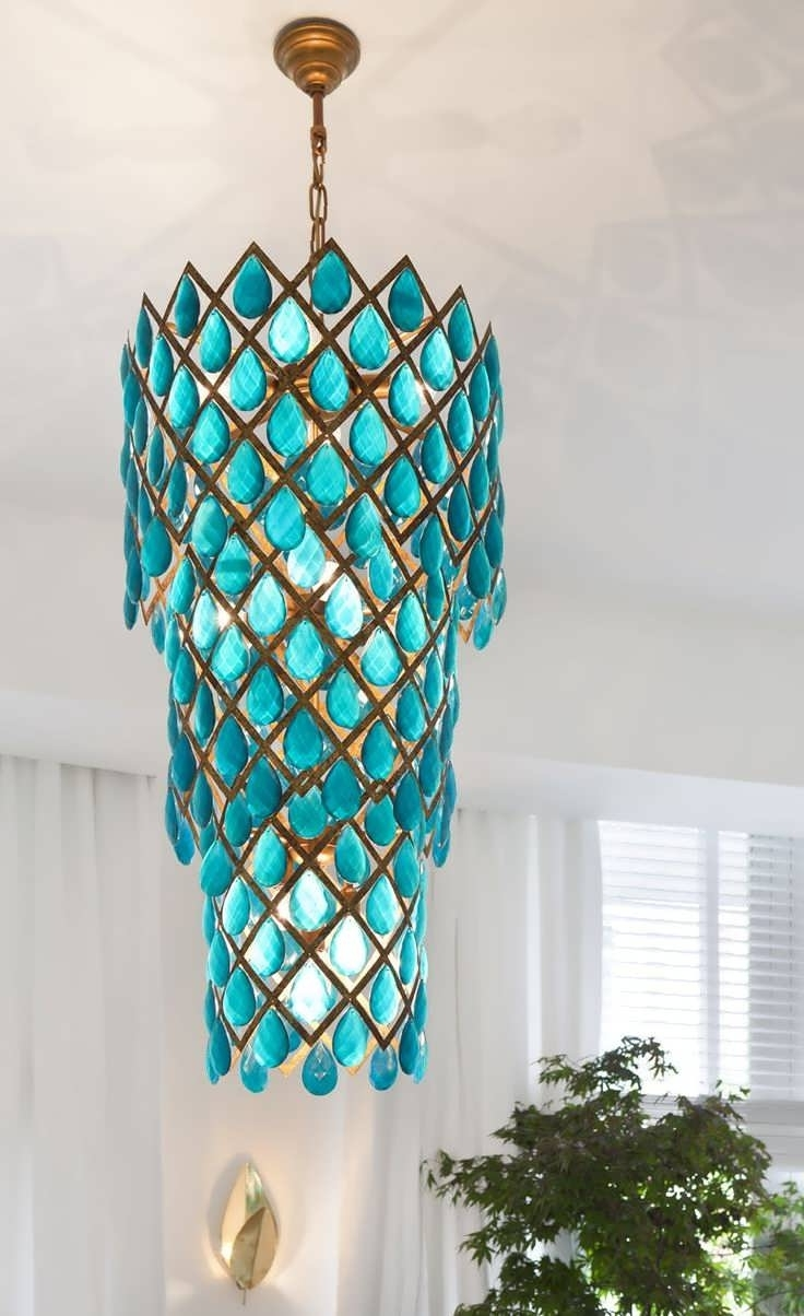 Chandelier : Chrome Chandelier Chandelier Winch System Round Wood In Most Recently Released Turquoise Blue Beaded Chandeliers (View 4 of 20)