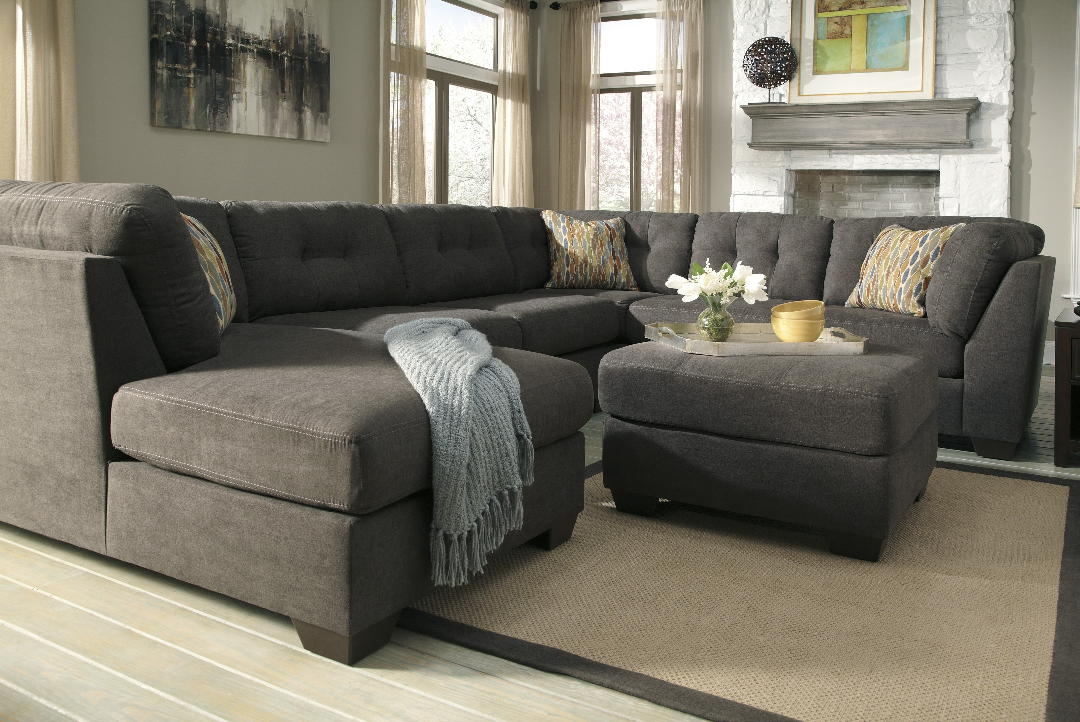 Cheap Sectionals With Ottoman In Trendy Furniture : Brown Fabric Sofa Bed And Ottoman Set Stealasofa (View 7 of 20)