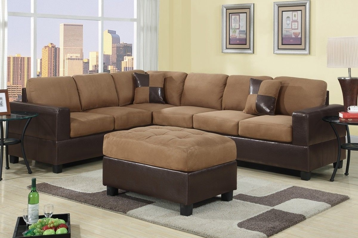 Cheap Sectionals With Ottoman Intended For Current Furniture: Brown Sectional Couches L Shaped With Brown Ottoman And (View 11 of 20)