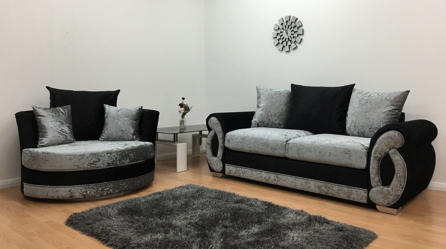 Chloe 3 Seater And Cuddle Chair – Black & Silver (View 4 of 20)