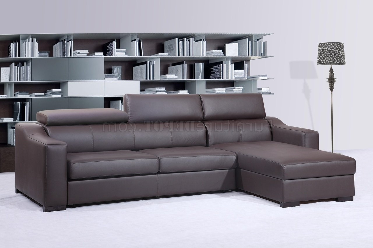 Chocolate Brown Sectional Sofas Pertaining To Widely Used Ritz Sleeper Sectional Sofa Chocolate Brown Leatherj&m (View 6 of 20)