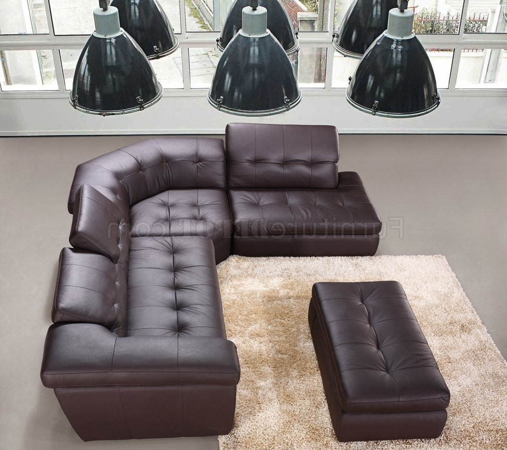 Chocolate Brown Sectional Sofas Within Famous Chocolate Or Beige Italian Leather Modern Sectional Sofa (View 9 of 20)