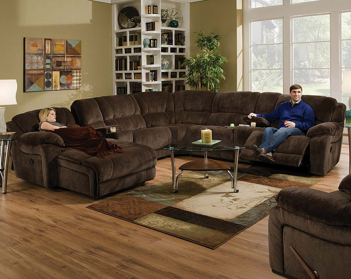 Chocolate Sectional Sofas In Recent Dual Reclining Sofa With Cup Holders Fabric Sectional Sofas With (View 3 of 20)