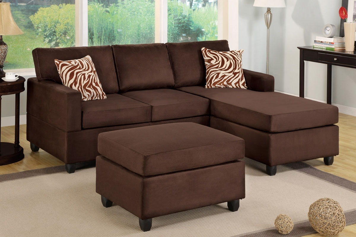 Chocolate Sectional Sofas Within Fashionable Poundex F7661 Chocolate Microfiber Sectional Sofa With Ottoman (View 5 of 20)