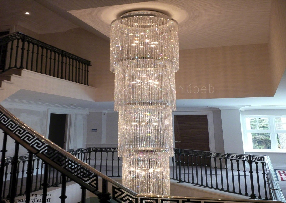 Chrystal Chandelier In Foyer – Trgn #6708F6Bf2521 Intended For Most Recent Staircase Chandeliers (View 2 of 20)