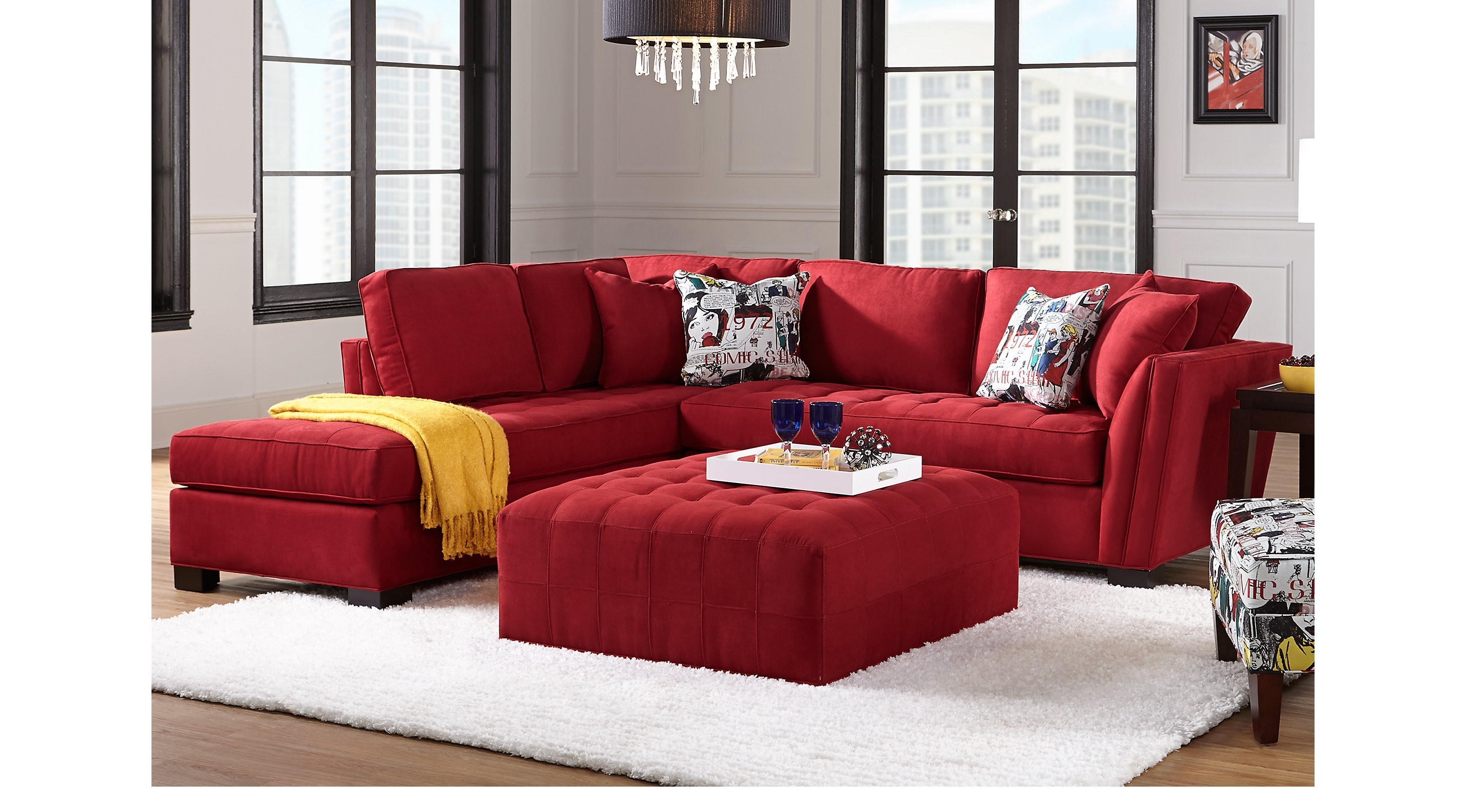 Cindy Crawford Home Sectionals Throughout Well Liked Red Sectional Sofas (View 18 of 20)