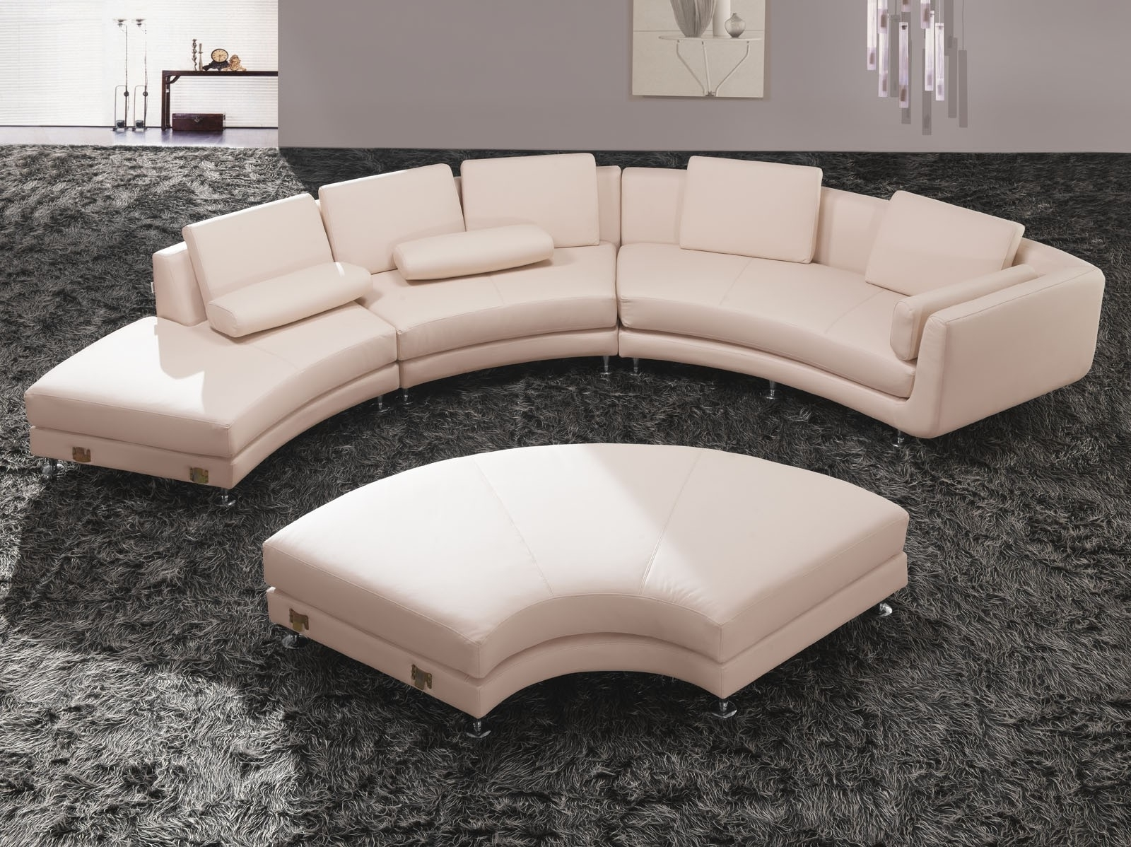 Circular Sectional Sofas Throughout Current Sofa : Glamorous Round Sectional Sofa Bed Curved Leather Tufted (View 2 of 20)