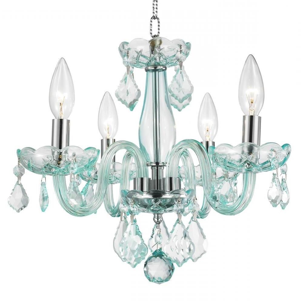 Clarion Collection 4 Light Chrome Finish And Coral Blue Turquoise With Fashionable Turquoise Crystal Chandelier Lights (View 4 of 20)
