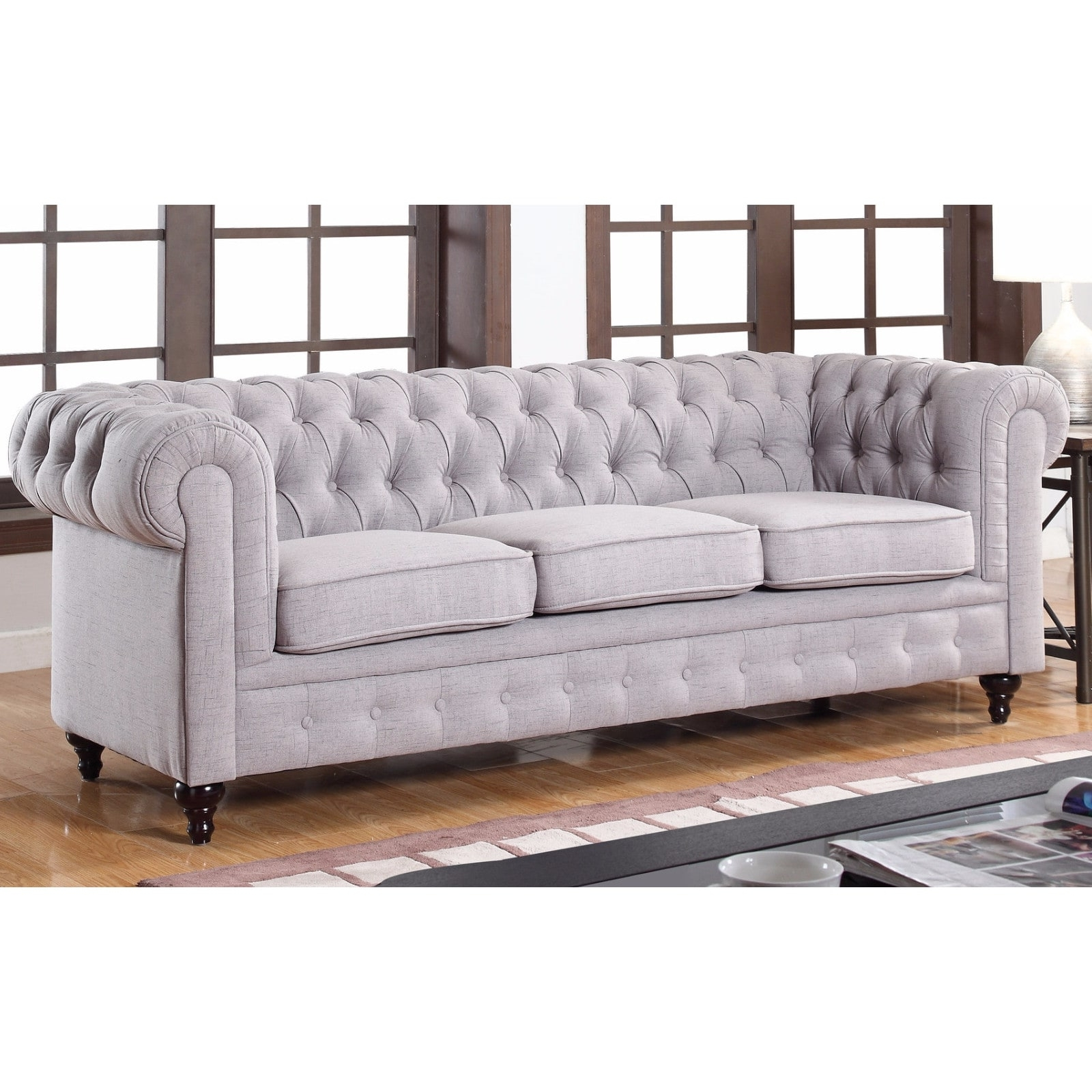 Classic Stone Scroll Arm Tufted Linen Fabric Chesterfield Large Throughout Most Up To Date Tufted Linen Sofas (Gallery 15 of 20)