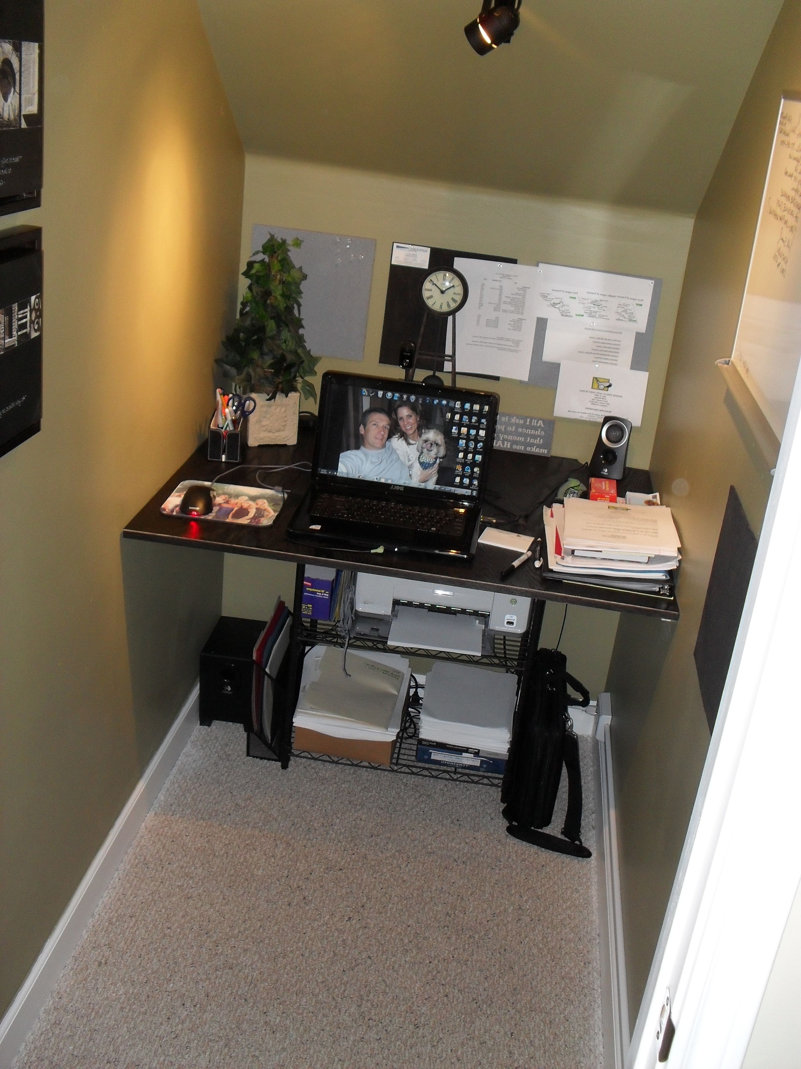 Closet Under Stairs Converted To Office Space :) Great Idea If You Within Most Recent Computer Desks Under Stairs (View 4 of 20)