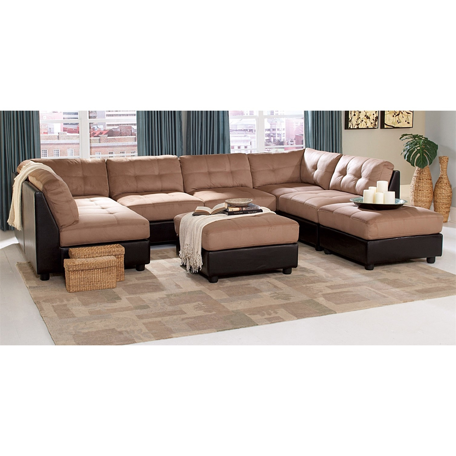 Coaster Furniture 551001/4 551002/2 Claude 6 Piece Brown Sectional Pertaining To Recent Macon Ga Sectional Sofas (View 2 of 20)