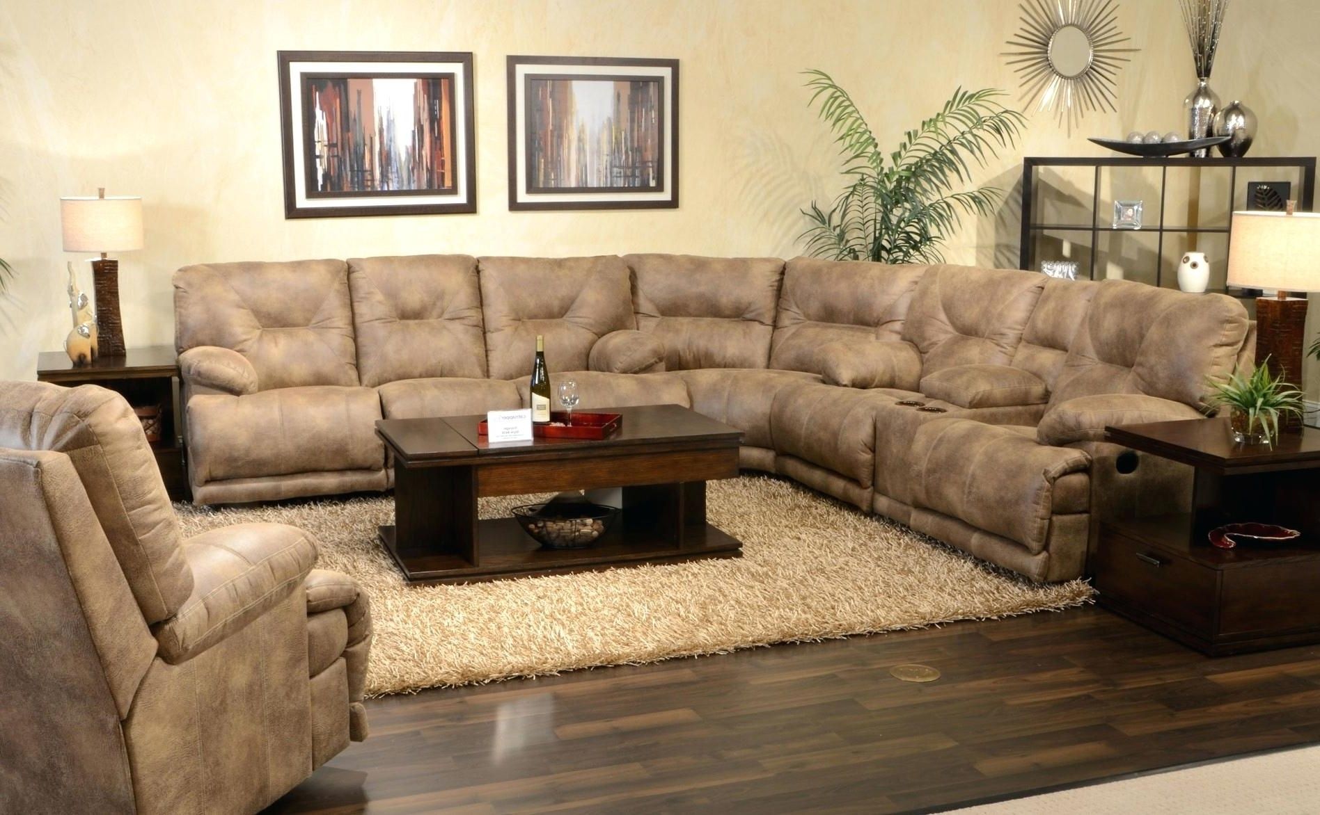 Coffee Tables For Sectionals Table Brown Leather Sectional U With 2018 U Shaped Sectionals (View 13 of 20)