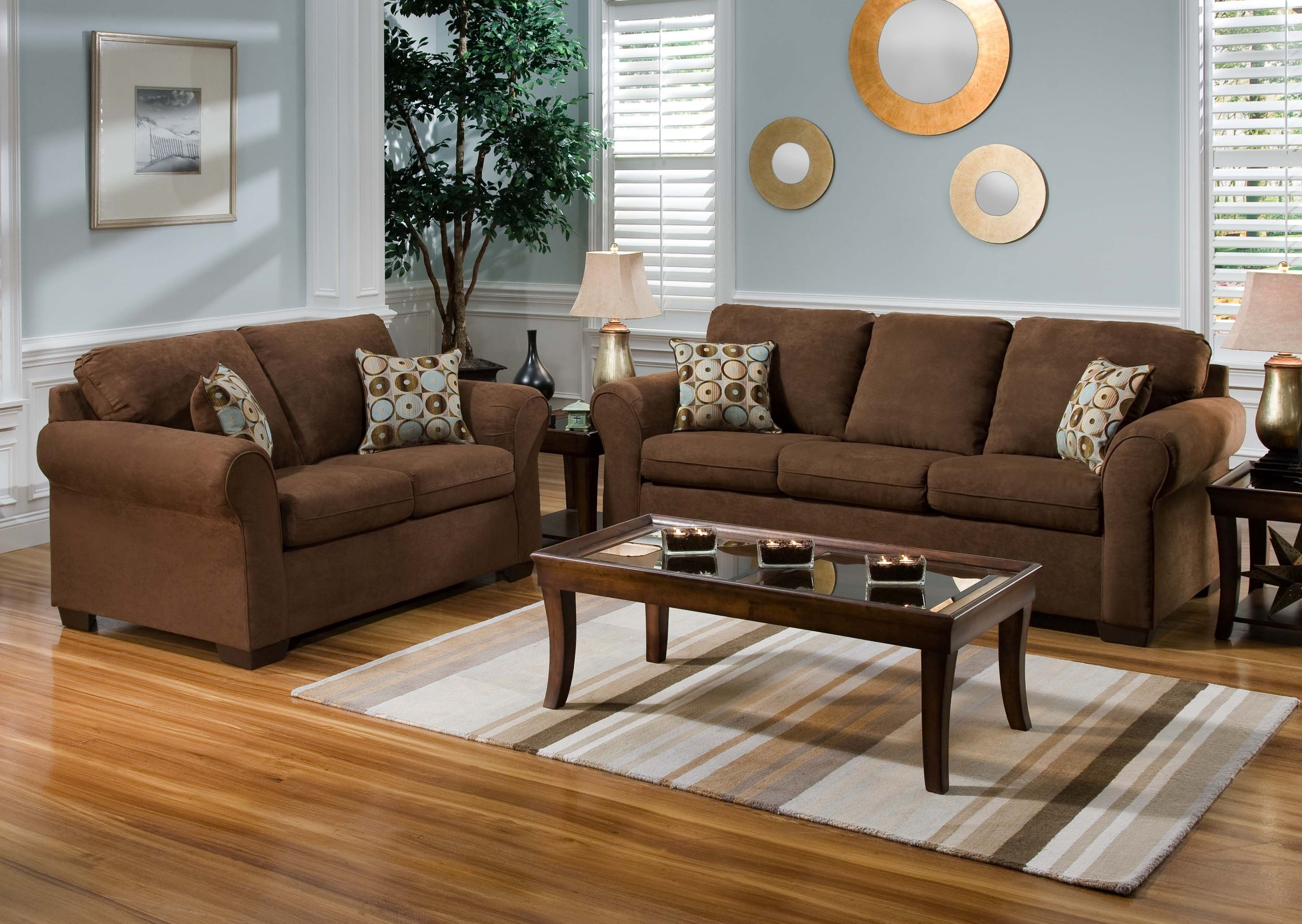 Colorful Sofas And Chairs Inside Preferred Wood Flooring Color To Complement Brown Leather And Oak Furniture (View 5 of 20)