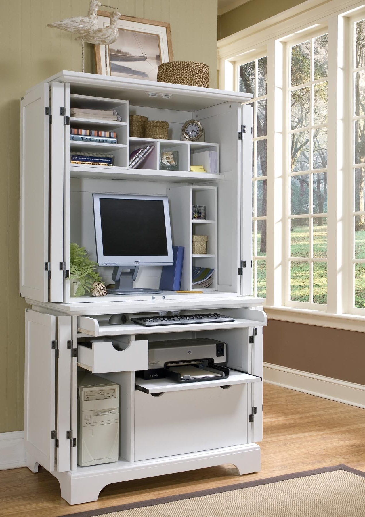 Compact Computer Desks Intended For Most Popular Home Styles 5530 190 Naples White Compact Computer Desk Hutch (View 15 of 20)