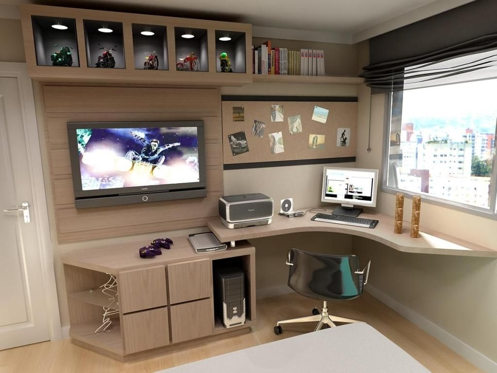 Computer Desks For Bedrooms Pertaining To Well Known 30+ Modern Computer Desk And Bookcase Designs Ideas For Your (View 4 of 20)