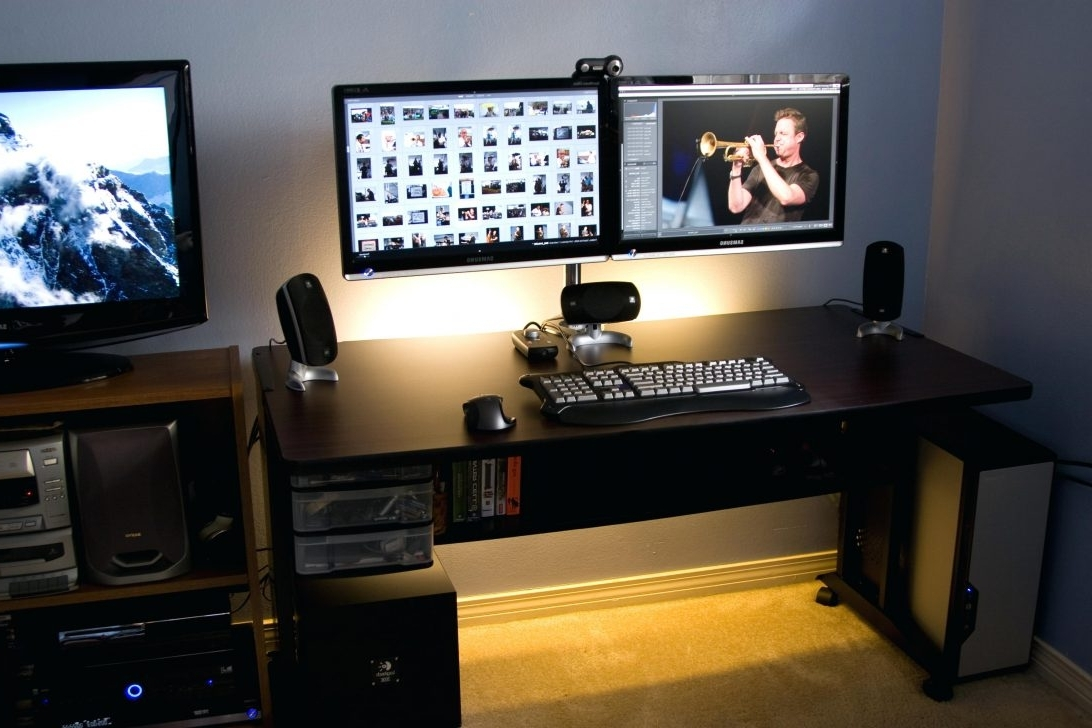 Computer Desks For Dual Monitors With Most Popular Top 53 Marvelous Standing Desk Monitor Arm Corner Stand Dual (View 4 of 20)
