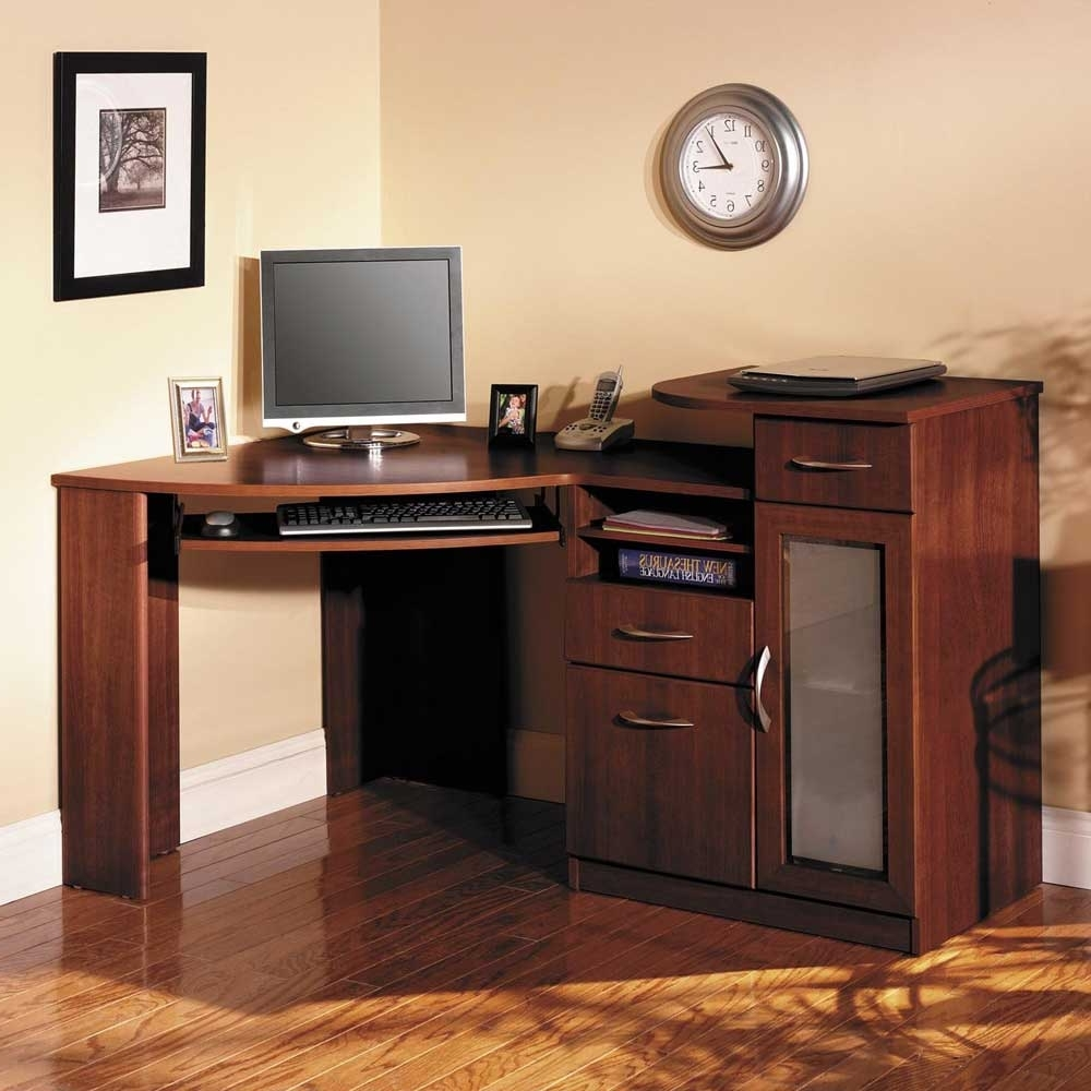 Computer Desks For Home Pertaining To Well Known Sleek Wooden Corner Home Computer Desks With Chest Of Drawers (View 8 of 20)