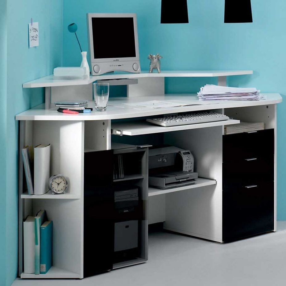 Computer Desks For Small Areas Intended For Well Liked Fascinating Modern White Multi Racks Corner Computer Desk Table (View 14 of 20)