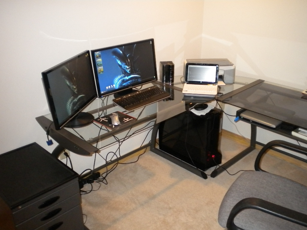 Computer Desks For Two Monitors Regarding Most Recent Home Decor: Amusing Dual Monitor Computer Desk With Desks Desk (View 9 of 20)