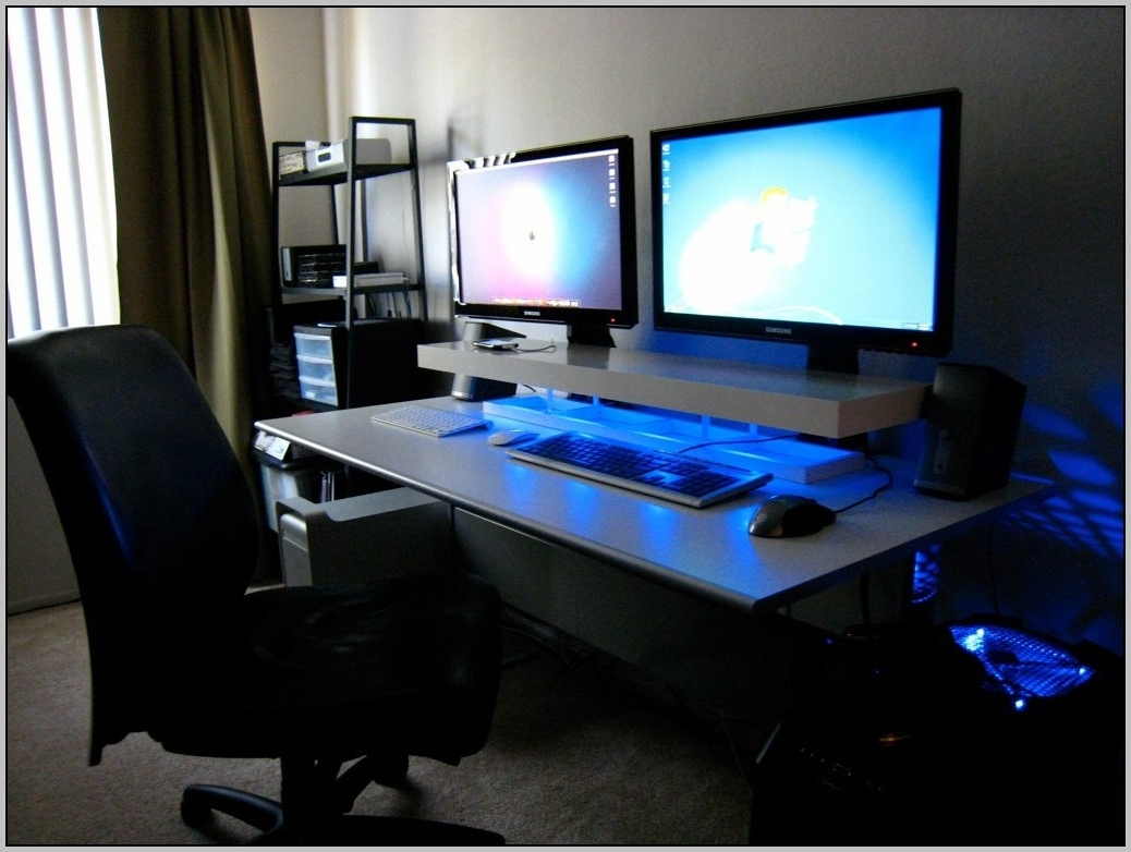 Computer Desks For Two Monitors With Most Recent Corner Computer Desk For Two Monitors – Best Home Furniture – Www (View 10 of 20)