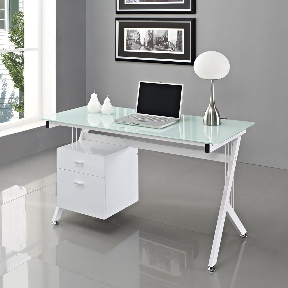 Computer Desks In White Intended For Well Known Glass Computer Desk White – New Furniture (View 4 of 20)