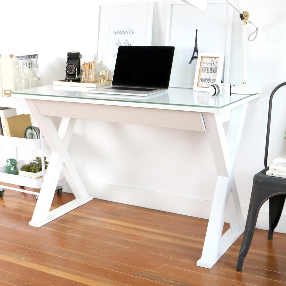 Computer Desks In White Throughout Latest Walker Edison Furniture Company Home Office 48 In (View 5 of 20)