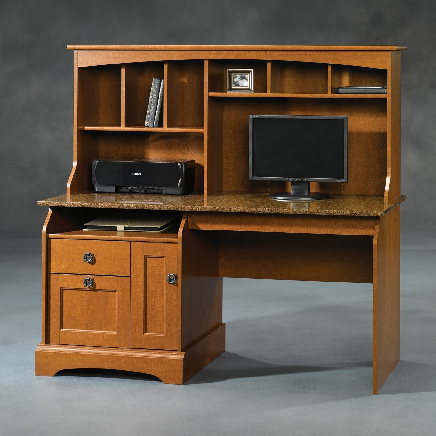 Computer Desks With Doors With Regard To Famous Brown Wooden Computer Desk With Hutch And Granite Top Completed (View 13 of 20)