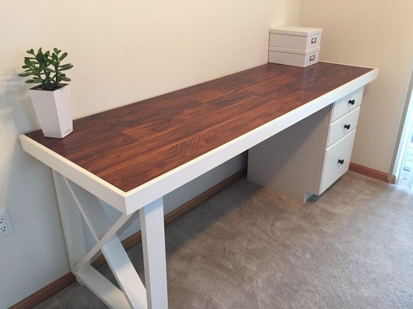 Computer Desks With Doors With Regard To Recent Diy Desk  Old Solid Wood Door Topped With Scrap Laminate, Scrap (View 5 of 20)