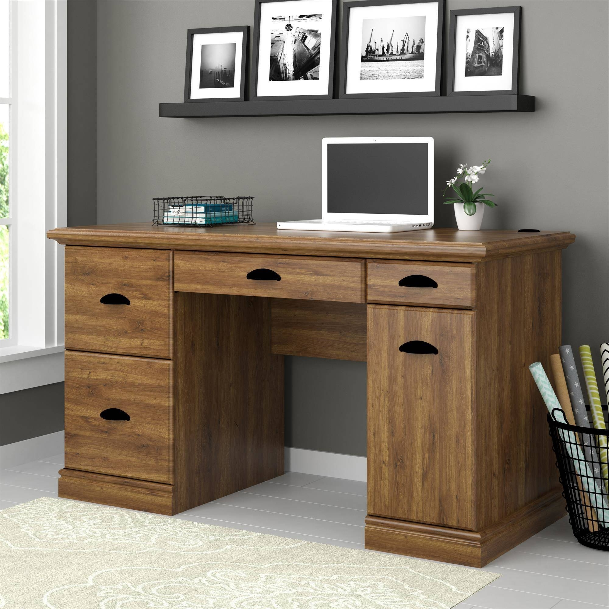 Computer Desks With Drawers Regarding Most Popular Better Homes And Gardens Computer Desk, Brown Oak – Walmart (View 7 of 20)