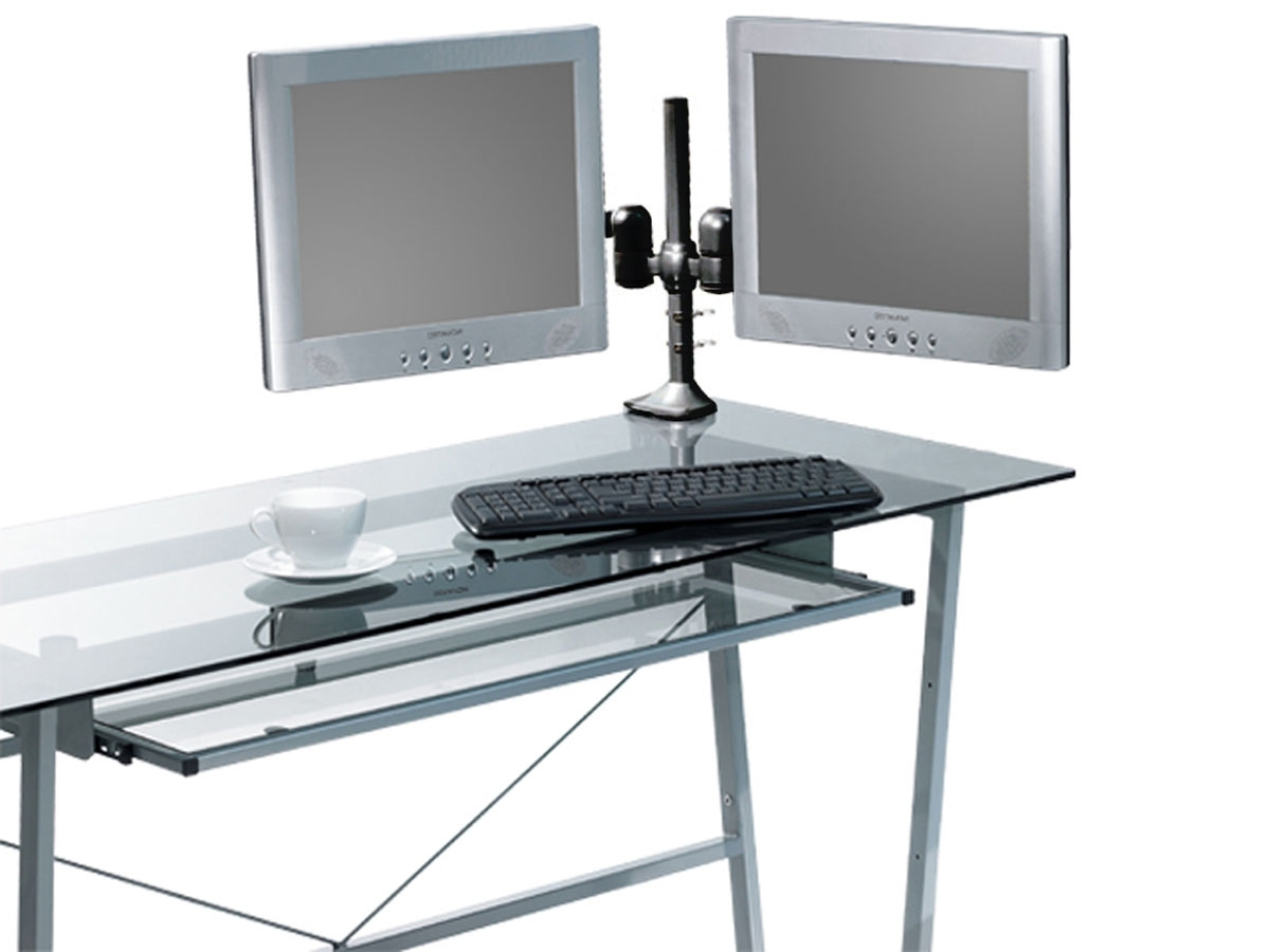 Computer Desks With Monitor Mount With Regard To Recent Tilt/swivel Dual Monitor Desk Mount Bracket (Max 17.5 Lbs (View 16 of 20)