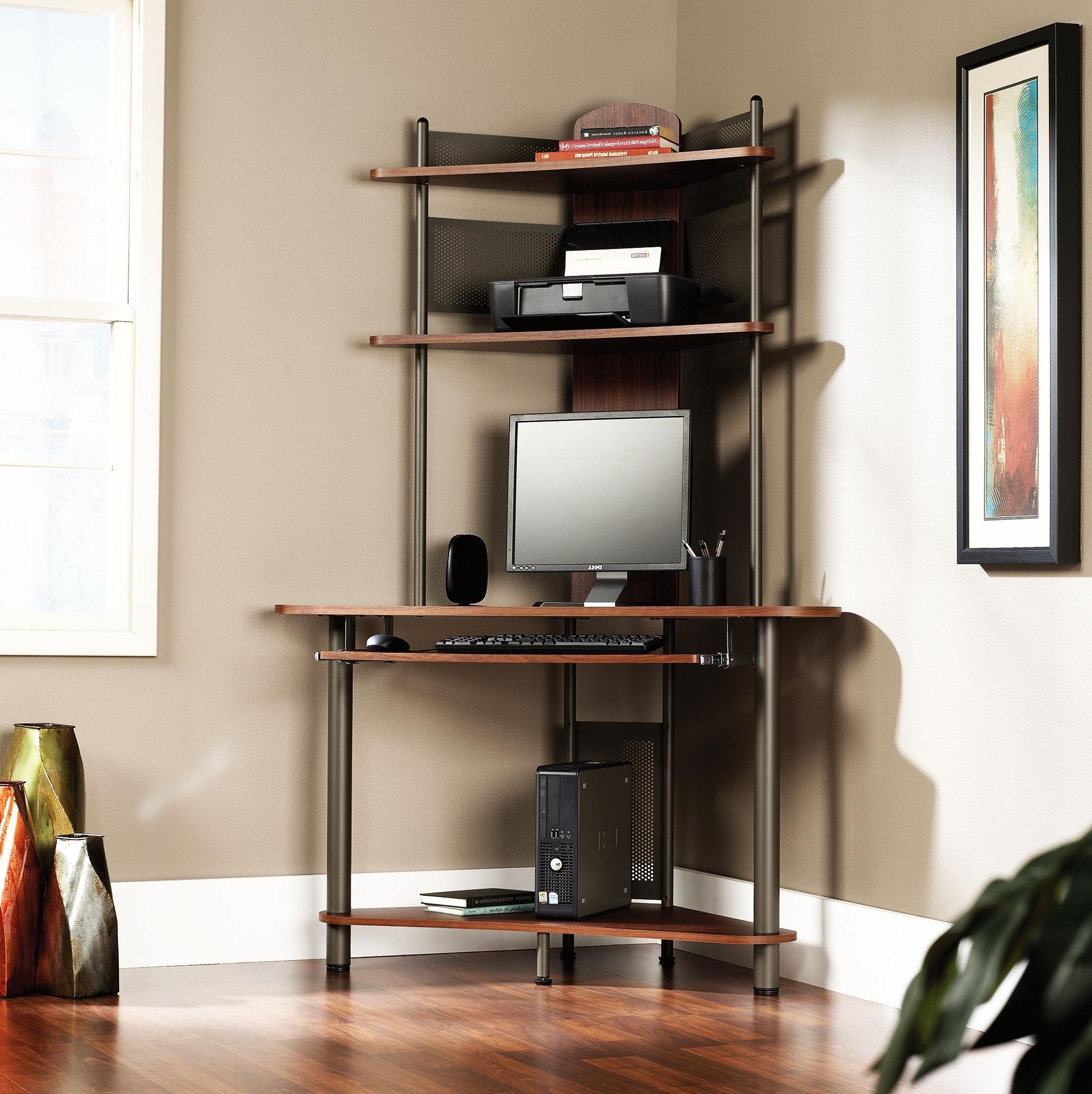 Computer Desks With Printer Shelf Regarding Recent Corner Computer Desk With Printer Shelf • Shelves (View 5 of 20)