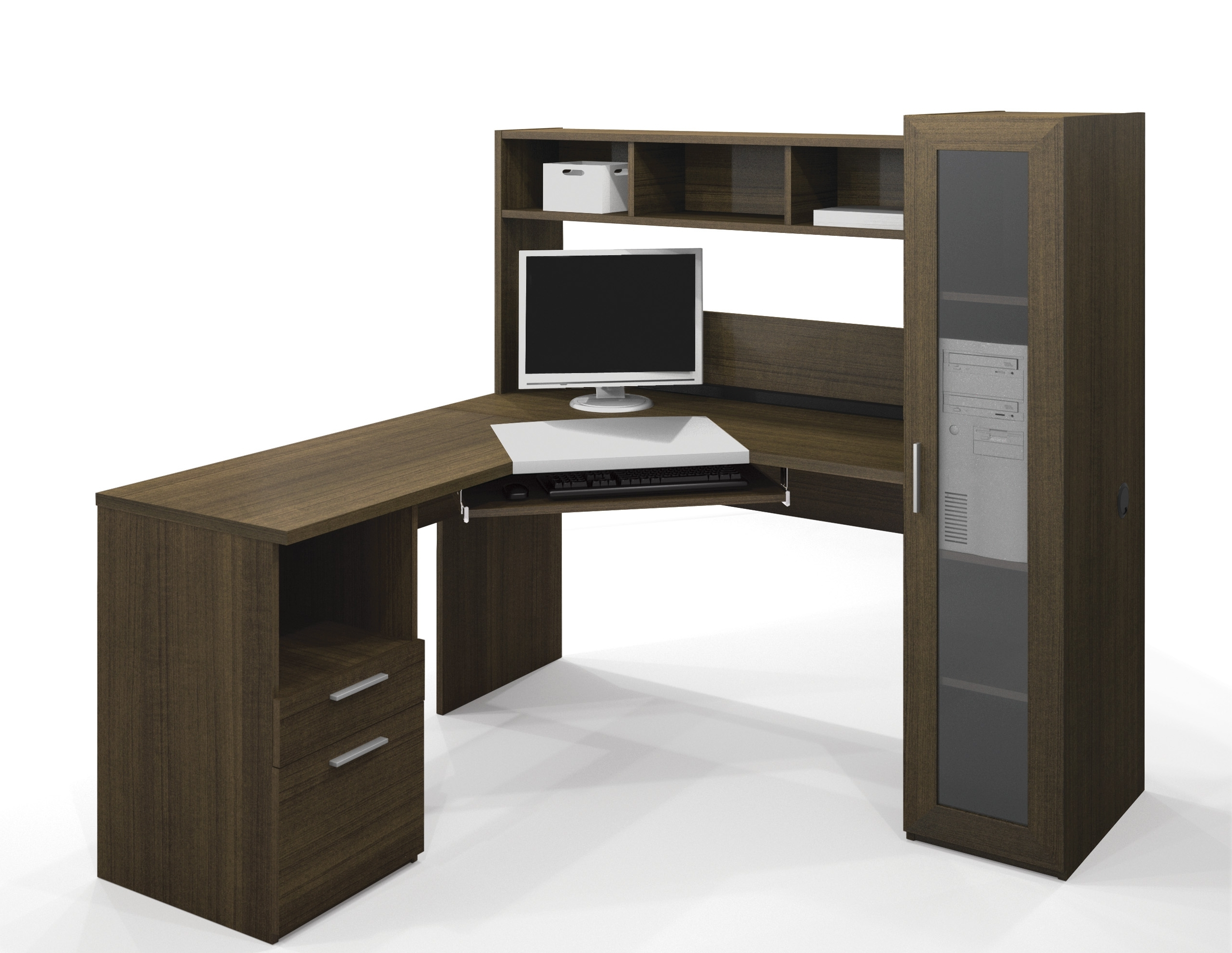 Computer Desks With Shelves Pertaining To Well Liked Furniture : Black Corner Desk With Shelves Home Desk Furniture (View 6 of 20)