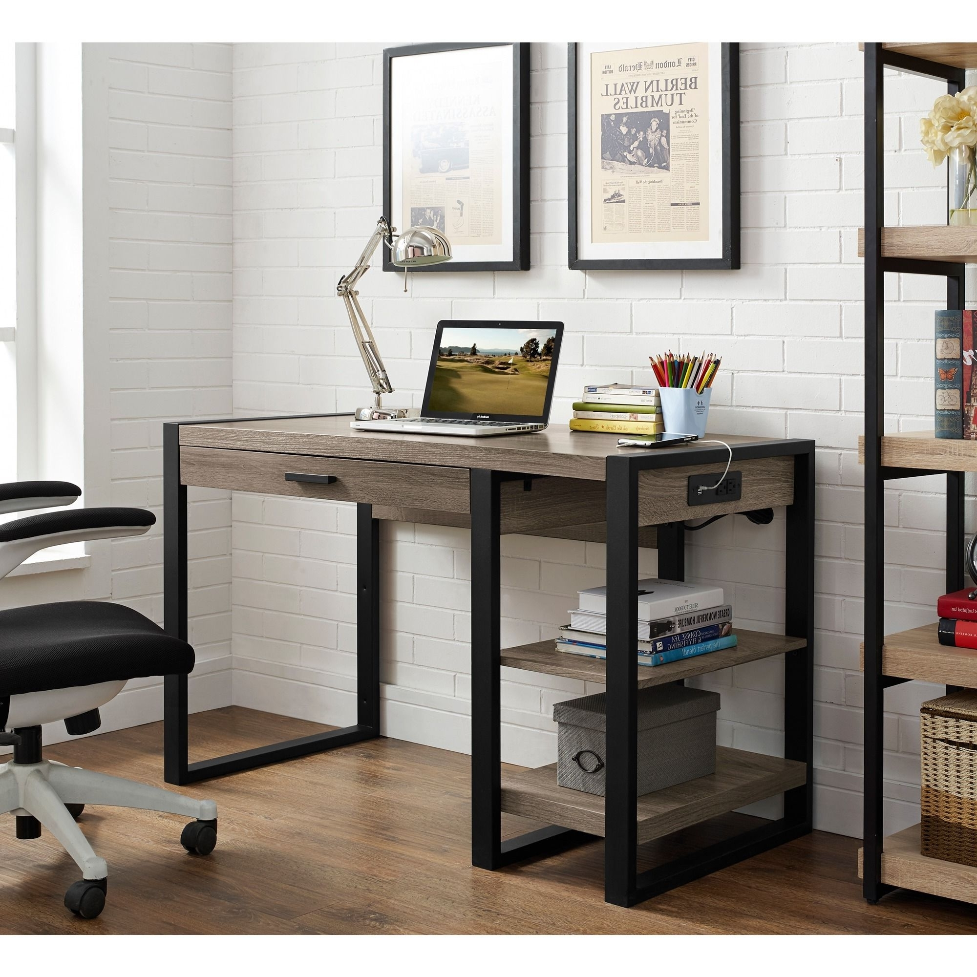 Computer Desks With Usb Ports Regarding Most Recent Complete Your Home Office With This Urban Tech Computer Desk (View 7 of 20)