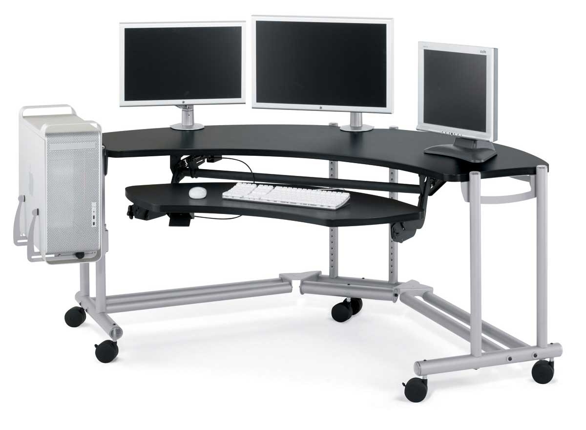 Computer Desks With Wheels In Most Recently Released Cool Modern Corner Computer Desks With White Metal Legs On Wheels (View 4 of 20)