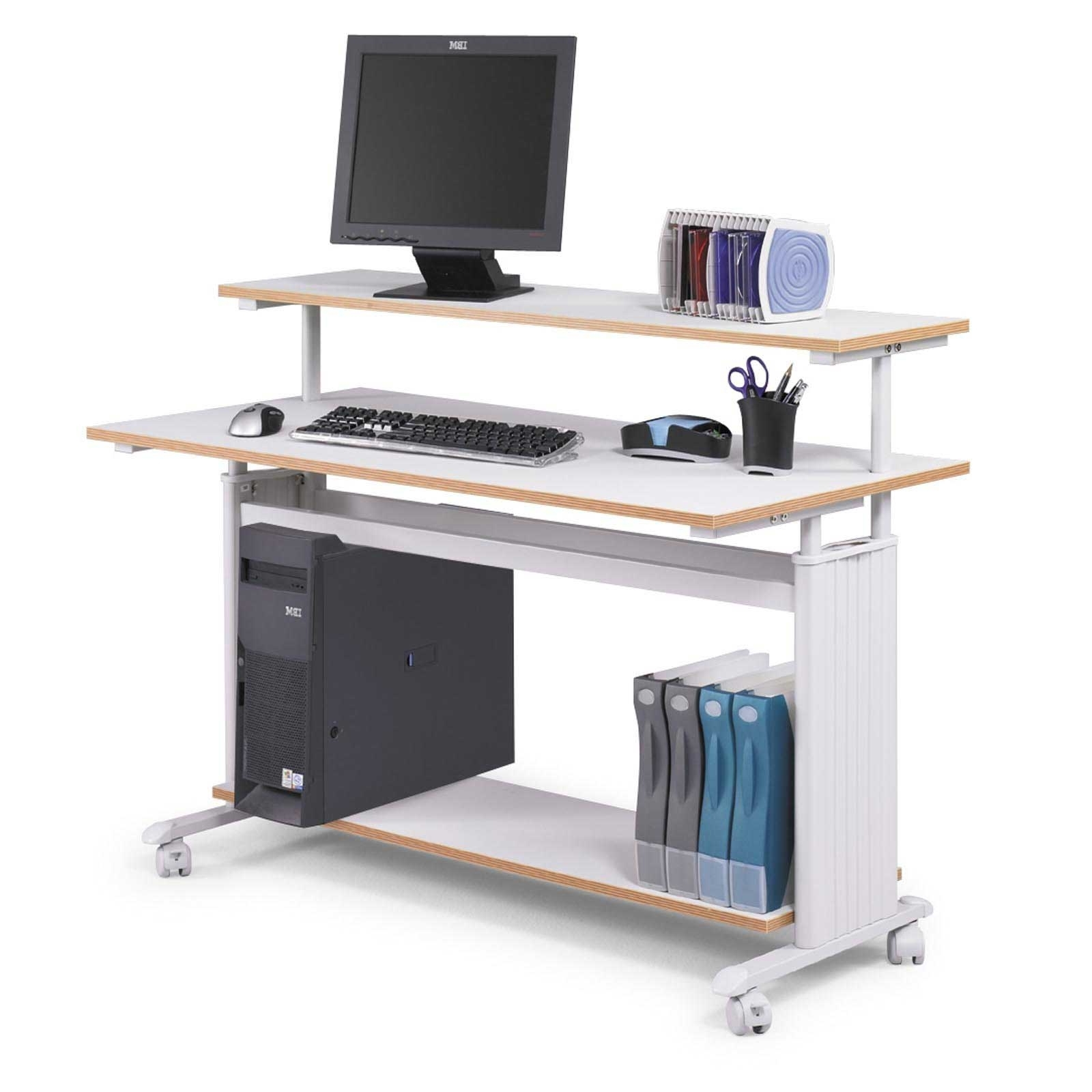 Computer Desks With Wheels Pertaining To Best And Newest Furniture, White Gloss Computer Desk And Roll Legs For Minimalist (View 7 of 20)