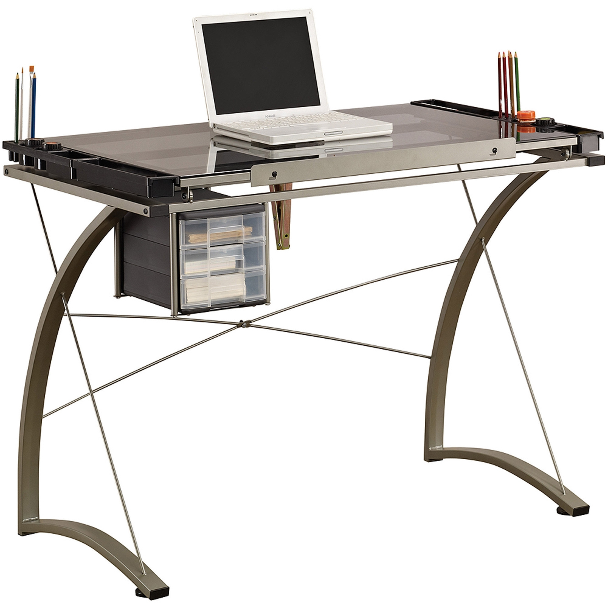 Computer Drafting Desks With Most Recent Studio Designs Futura Craft Station With Glass Top – Walmart (View 6 of 20)