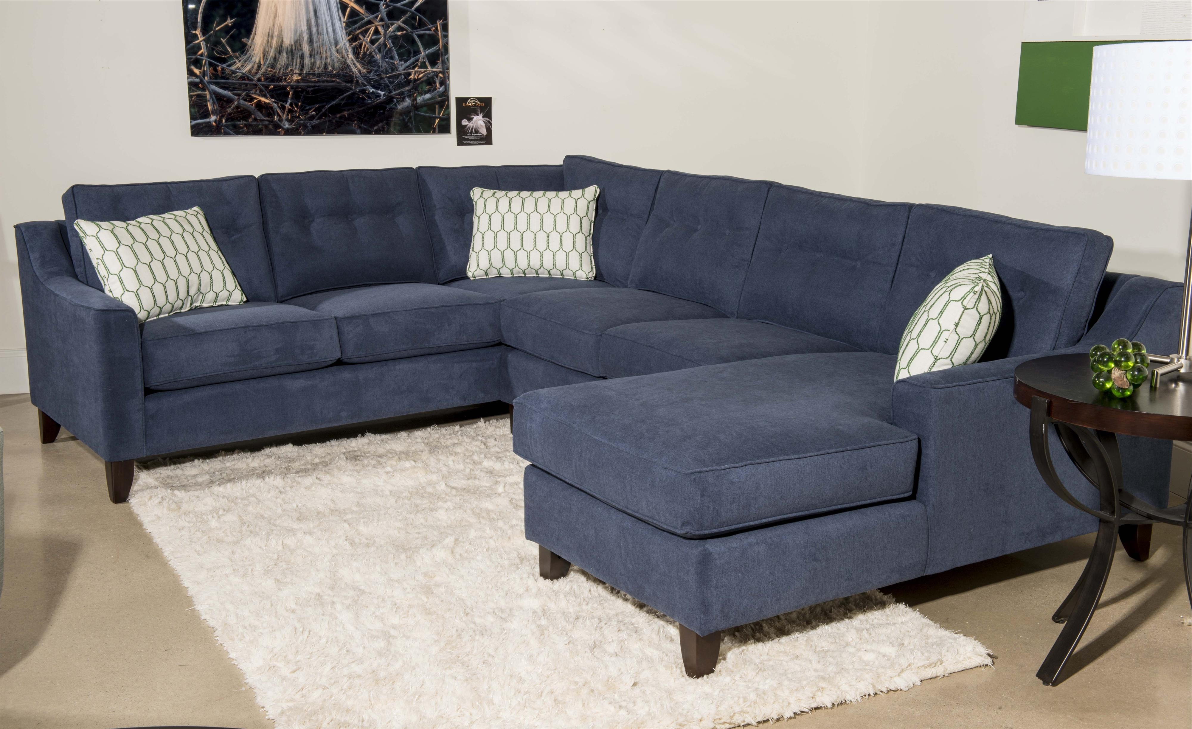 Contemporary 3 Piece Sectional Sofa With Chaiseklaussner In Famous Blue U Shaped Sectionals (View 3 of 20)