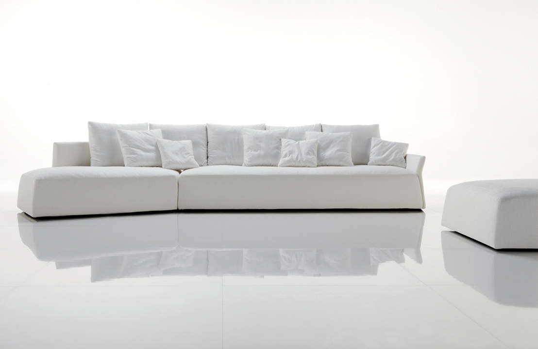 Contemporary And Modern White Sofa For Lavish Living Room Regarding Current Long Modern Sofas (View 5 of 20)