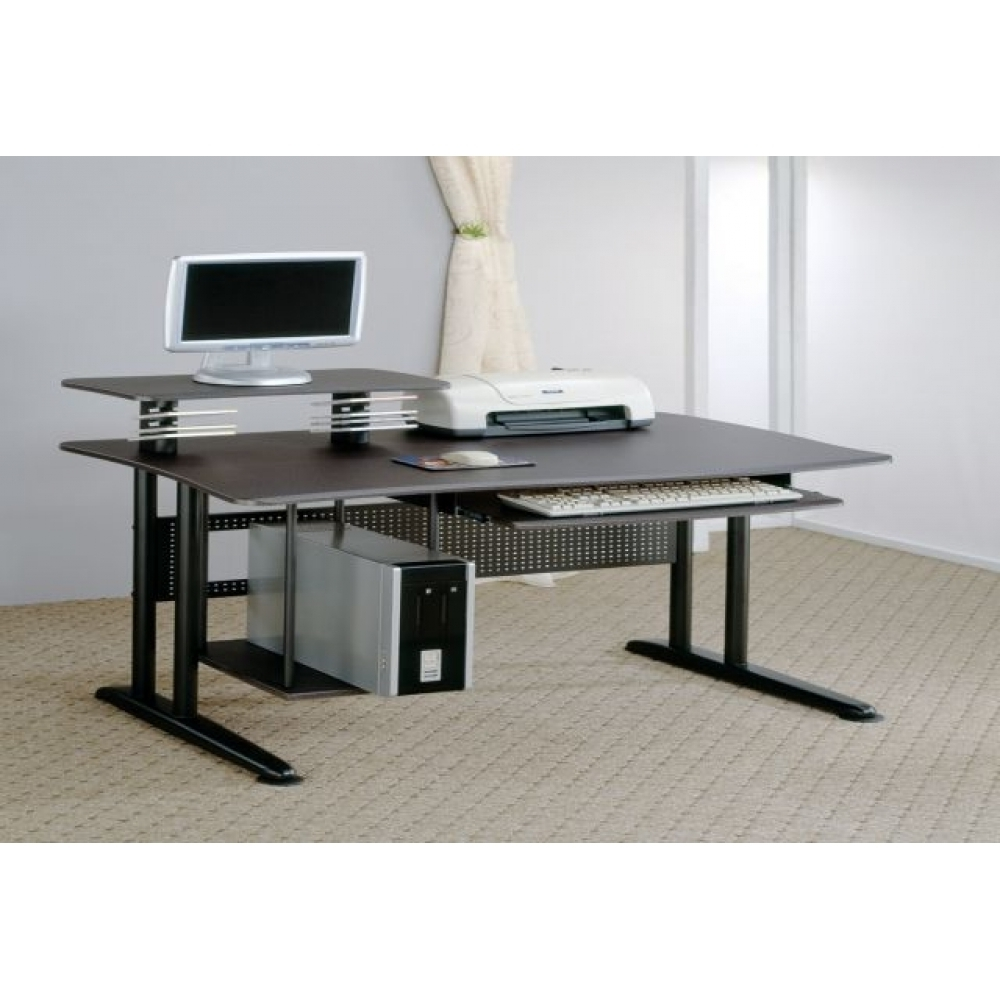 Contemporary Computer Desk With Keyboard Tray And Storage Pertaining To Well Known Long Desks