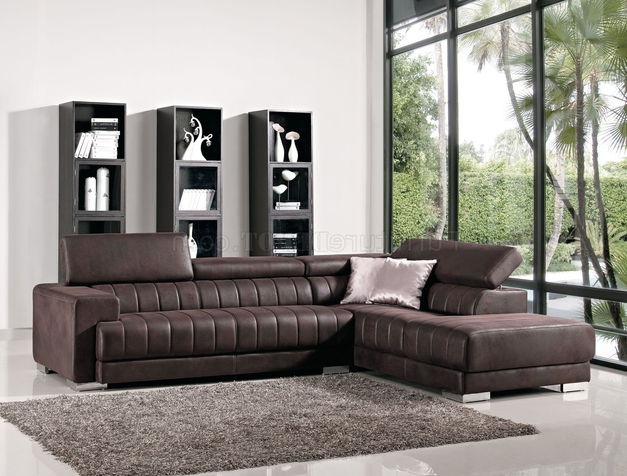 Contemporary Fabric Sofas With Regard To Preferred Brown Fabric Modern Sectional Sofa W/adjustable Headrest (View 9 of 20)