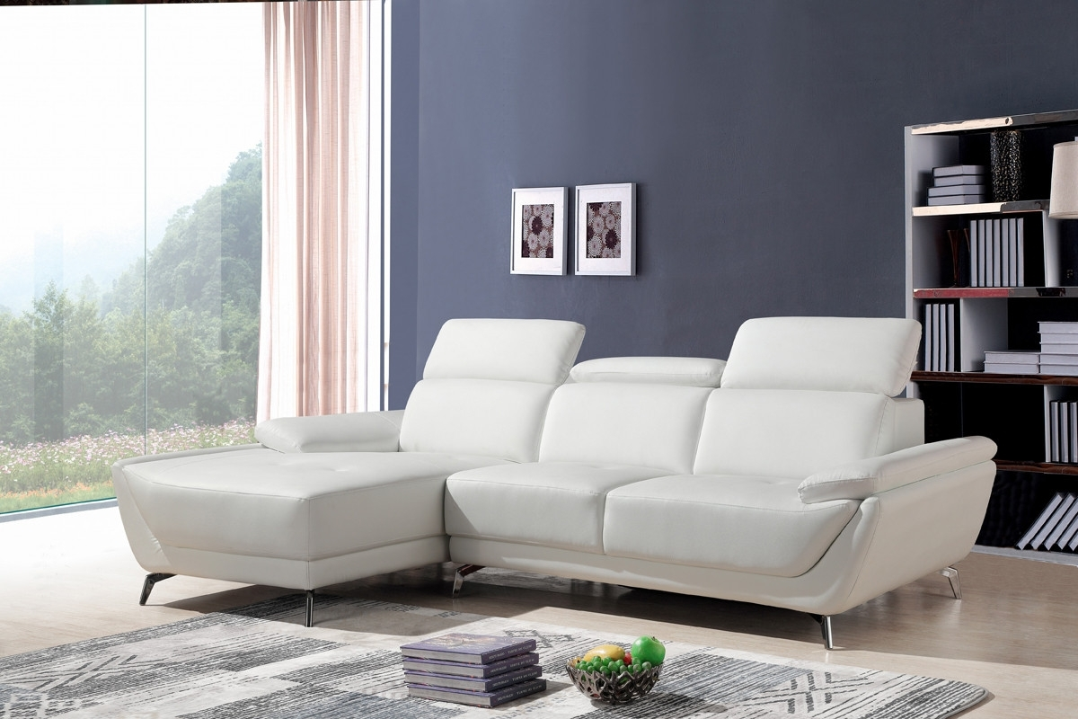 Contemporary Sectional Sofas Inside Most Recent Casa Sterling Modern White Eco Leather Sectional Sofa (View 5 of 20)