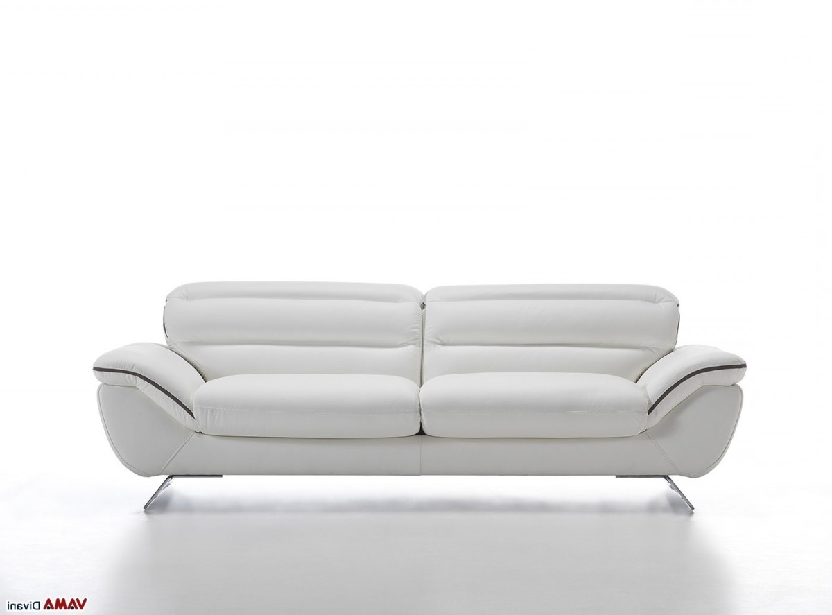Contemporary White Leather Sofa With Steel Feet In Fashionable White Leather Sofas (View 8 of 20)