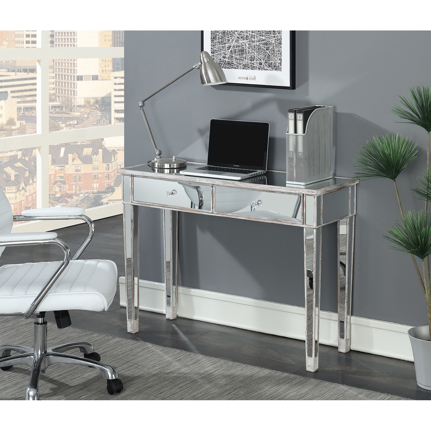 Convenience Concepts Gold Coast Mirrored Desk Vanity – Walmart Pertaining To Most Popular Gold Coast Computer Desks (View 4 of 20)