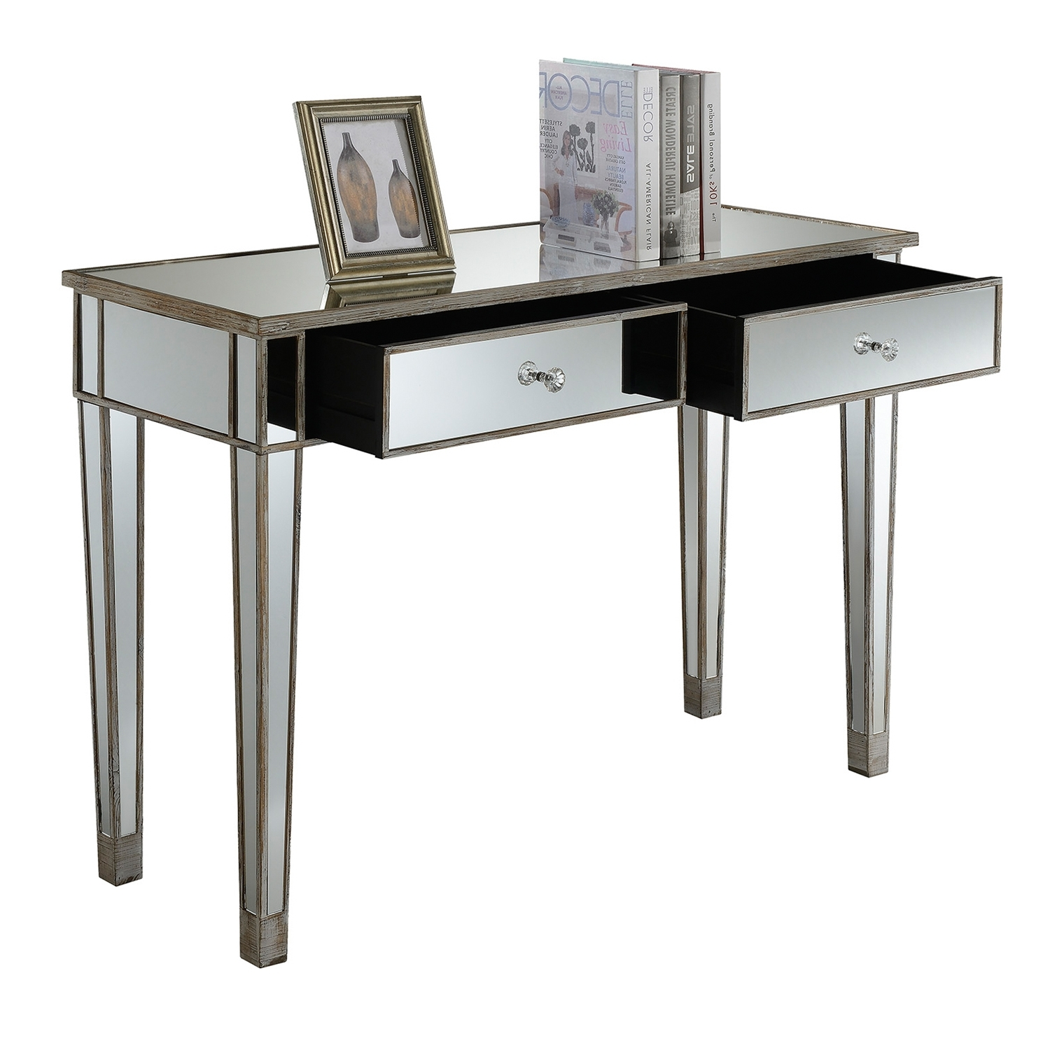 Convenience Concepts Gold Coast Mirrored Desk Vanity – Walmart With 2018 Gold Coast Computer Desks (View 5 of 20)