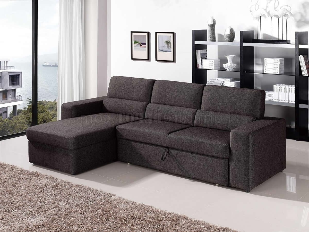Convertible Sectional Sofas In 2018 Brown Fabric Modern Convertible Sectional Sofa W/storage (View 3 of 20)