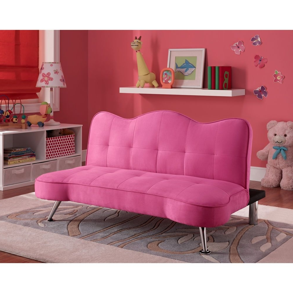 Convertible Sofa Bed Couch Kids Futon Lounger Girls Pink Bedroom Regarding Most Recent Cheap Kids Sofas (View 5 of 20)