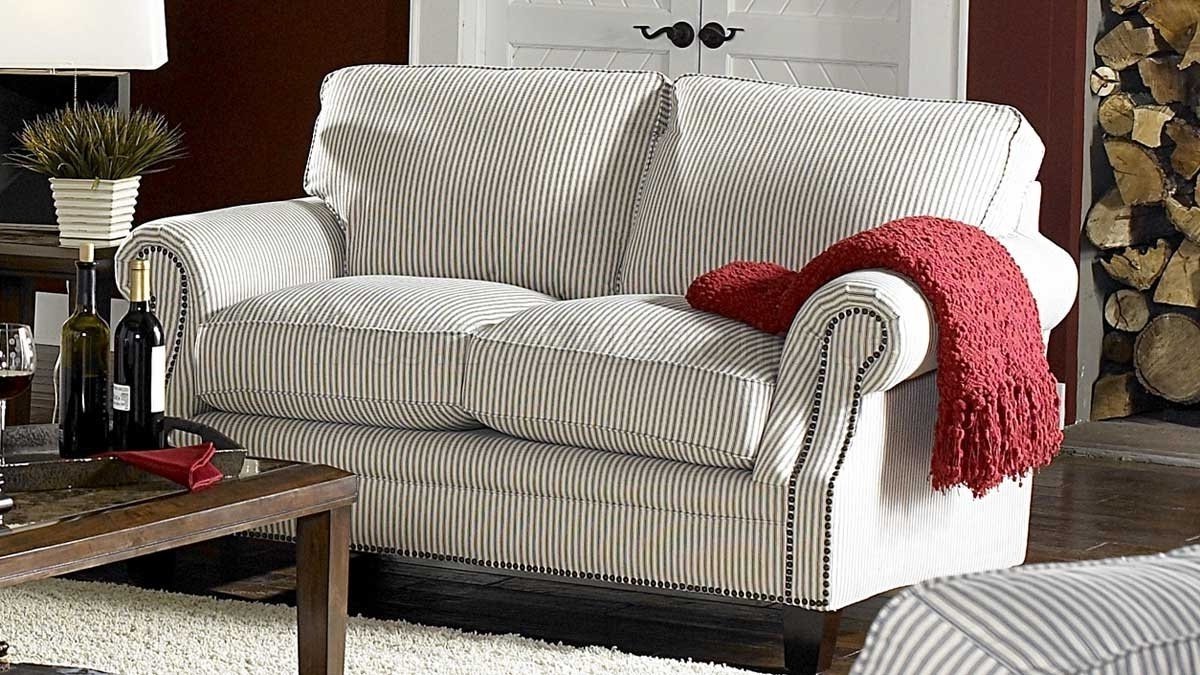 Cottage Style Sofas And Chairs Regarding Recent Blue Striped Fabric Sofa Loveseat